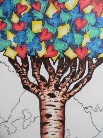 card tree closeup